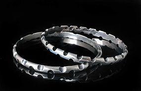 Antonio Pinda Mexican silver mod Bangle Bracelets - set of 2