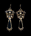 Edwardian 14k gold black onyx pearl mourning dangle Earrings
