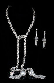 fab Villasana Mexican silver lariat Necklace Earrings set