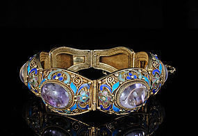 Chinese Deco silver enamel and amethyst filigree Bracelet