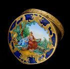 gorgeous Deco Italian enamel Compact ~ friends in garden setting