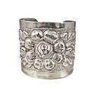 massive Sanborn's Mexican silver repousse Cuff Bracelet