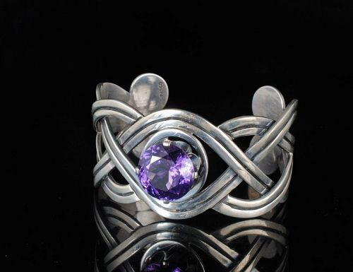 Mexican Deco silver Cuff Bracelet with huge alexandrite