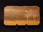 Japanese 1991 Ceramic Wall Plaque by Saeki Moriyoshi
