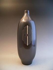 Japan 20th Century Bronze Inlaid Vase by Kasai Taizo