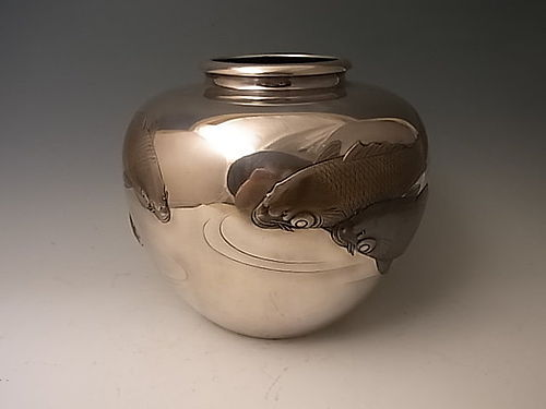 Japanese E. 20th C. Silver Koi Vase by Shozan