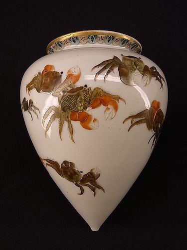 Japanese E. 20th C. Crab Design Kutani Hanging Vase