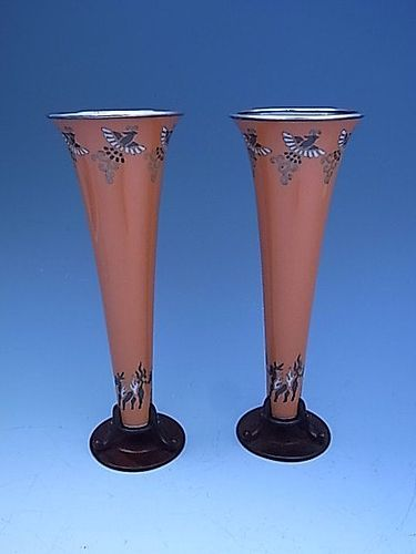 Japanese E. 20th C. Pair of Cloisonne Trumpet Vases by Ando