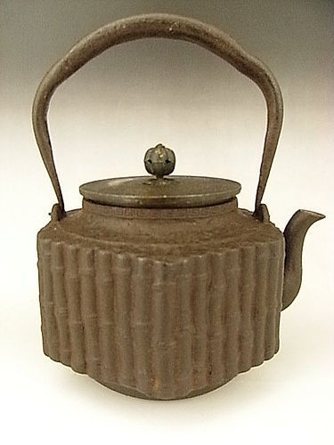 Japanese E. 20th C. Iron Tea Kettle by Shibundo