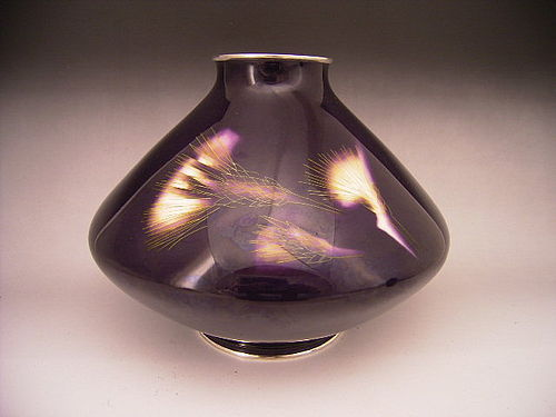 Japanese E. 20th C. Ando Cloisonne Thistle Design Vase