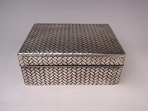 Japanese E. 20th C. Pure Silver Box with Woven Design