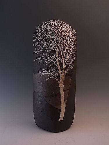 Japanese 1994 Ceramic Vase by Saeki Moriyoshi in Tree Design