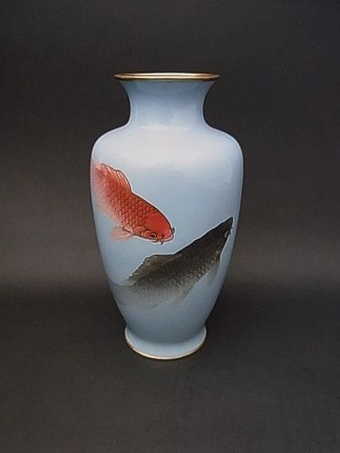 Japanese E. 20th C. Cloisonne Vase with Koi Carp Design