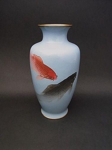 Japanese E. 20th C. Cloisonne Vase with Koi Carp Design