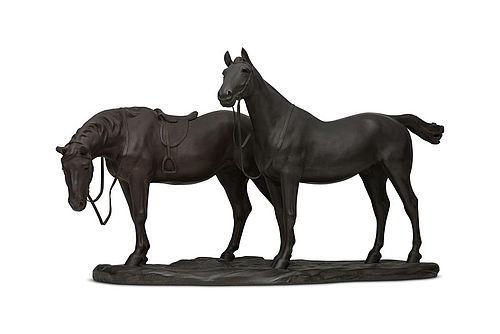Japanese E. 20th C. Pair of Bronze Horse by Yamamoto Kozan