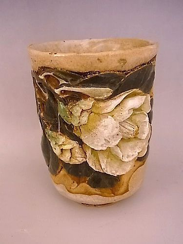 Japanese E - Mid 20th C. Ceramic Camellia Design Tea Cup by SUIGETSU