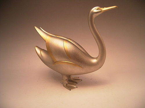 Japanese E. 20th C. Bronze Art Deco Swan by Joshin
