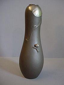 Japanese White Bronze Snail and Vine Design Vase`
