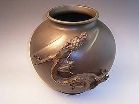 Japanese E. 20th C. bronze dragon vase