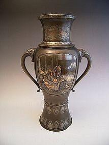 Japanese Meiji Period Bronze Poet Design Bronze Vase