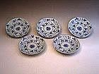 Japanese L 19th C. Set of 5 Blue and White Small Dishes