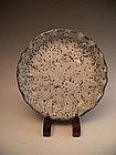 Japanese E. - Mid 20th Nezumi Shino ware fluted dish