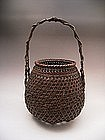 Japanese 20th Century Bulbous Shaped Bamboo Basket