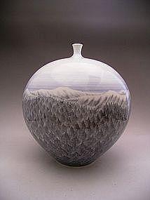 Japanese 20th Century Porcelain Vase by Fujii Shumei