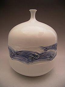 Japanese 20th Century Celadon Vase by Fujii Shumei