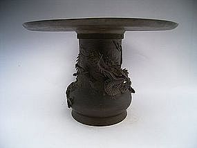 Japanese Meiji Dragon Design Usubata Flower Holder