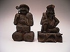 Japanese Edo Period Wood Carving of Daikoku & Ebisu