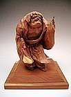 Japanese 20th Century Wooden Okimono of KANZAN Hermit