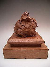Japanese 20th Wooded Okimono of Usobuki