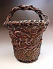Japanese Early 20th Large Bamboo Flower Basket