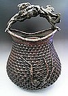 Japanese E. 20th C. Bamboo Flower Basket with Handle