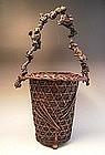 Japanese E. 20th C. Bamboo Flower Basket