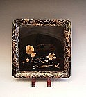 Japan Late 19th Century Black and Gold Lacquer Tray
