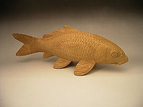 Japanese 20th C. Wooden Kawahara Keishu II Koi Carving