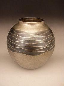 Japanese Hand Hammered Silver Vase