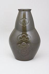 Japanese E. 20th C. Bronze Vase by Bokuzen