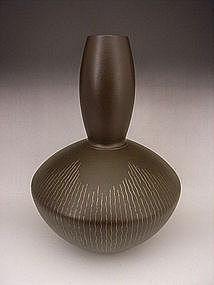 Japanese 20th C. Bronze Inlaid Vase by Sano Hiroyuki