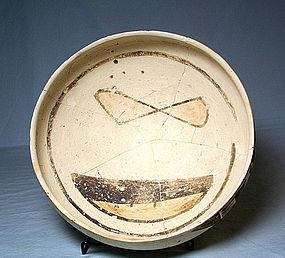 Sikyatki Polychrome bowl with Kachina face ca 1400 to 1625 ad.
