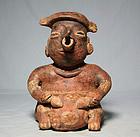 PreColumbian Nayarit male figure with Sea Turtle shell drum ca. 300 ad