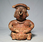 PreColumbian Nayarit male figure with Sea Turtle shell drum ca. 300 ad