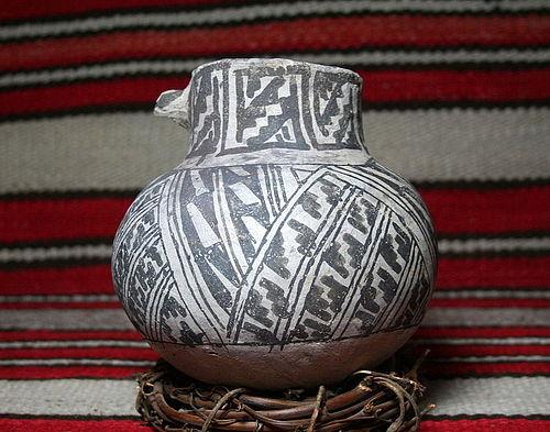 Anasazi/ Tularosa Black on White Olla with Dog Head Lug No Restoration