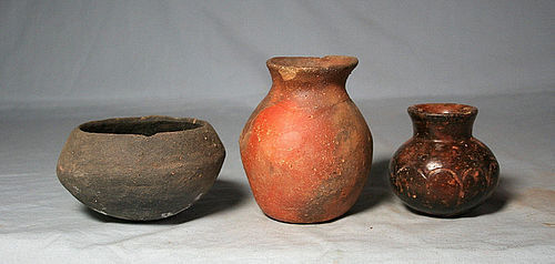 Precolumbian (3) Jalisco pots ca. 1 ad. No Restoration