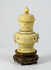 A Chinese Ivory Vase & Cover