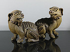 A Pair of Shekwan Lion-Dogs, China, 19th Century.