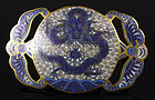 Good Chinese Cloisonné Belt Buckle, 19thC.