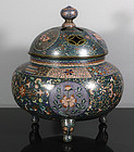 Huge Japanese Cloisonné Koro, 19th Century.